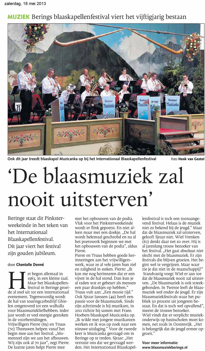 Dagblad De Limburger mei 2013